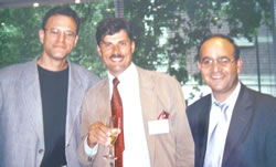 Congress of ISHRS, Chicago, USA, October 2002. From the left side: Dr Robert S. Haber (USA), Dr Jerzy Kolasiński, Dr Gholamali Abbasi (Iran).