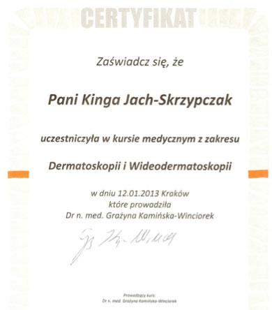 Kurs medyczny z zakresu dermatoskopii - Kinga Jach-Skrzypczak