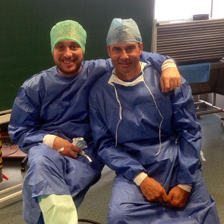 Dr Jerzy Kolasiński i dr Michele Antonacci z Włoch podczas kursu w Liege