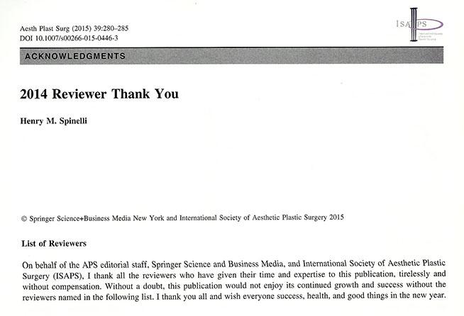 Podziękowania od Aesthetic Plastic Surgery - 2014 Reviewer Thank You